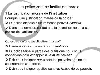 La police comme institution morale