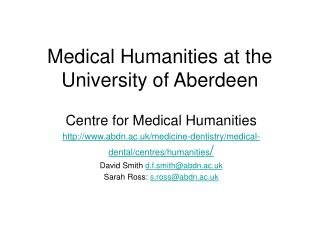 Medical Humanities at the University of Aberdeen