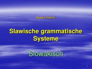 Branko To šović Slawische grammatische Systeme Slowakisch
