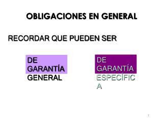 OBLIGACIONES EN GENERAL