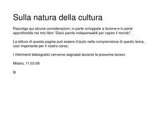 Sulla natura della cultura