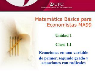Matem�tica B�sica para Economistas MA99