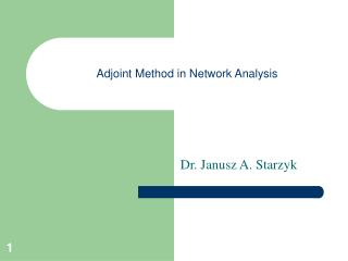 Adjoint Method in Network Analysis