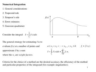 Numerical Integration  General considerations  Trapezoid rule  Simpson's rule  Error estimates