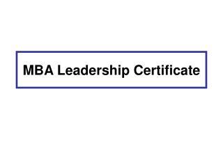MBA Leadership Certificate