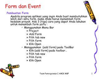 Form dan Event