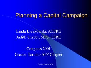 Planning a Capital Campaign