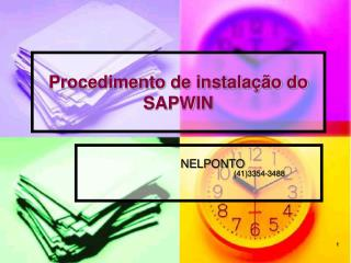 Procedimento de instala  o do SAPWIN