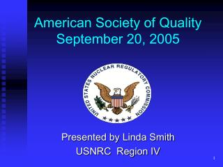 American Society of Quality September 20, 2005
