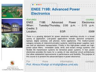 ENEE 719B: Advanced Power Electronics