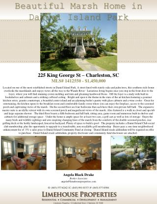 Limehouse  Properties • 8 Cumberland Street • Charleston, SC 29401