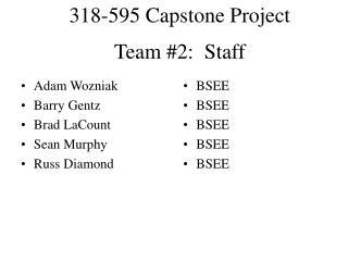 Team #2:  Staff