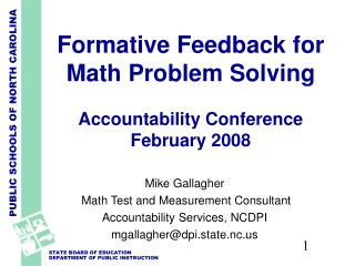Formative Feedback for Math Problem Solving    Accountability Conference February 2008