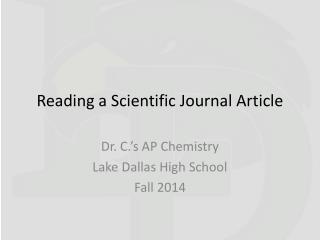 Reading a Scientific Journal Article