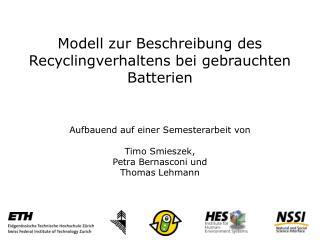 Modell zur Beschreibung des Recyclingverhaltens bei gebrauchten Batterien