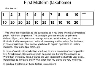 First Midterm ( takehome)