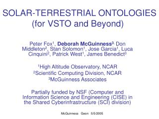 SOLAR-TERRESTRIAL ONTOLOGIES (for VSTO and Beyond)