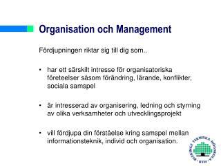 Organisation och Management