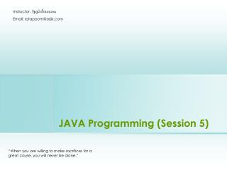 JAVA Programming Session 5