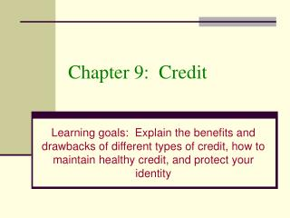 Chapter 9:  Credit