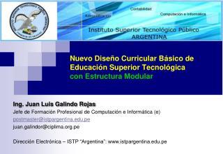 Nuevo Diseño Curricular Básico de Educación Superior Tecnológica con Estructura Modular