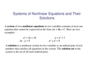 Systems of Nonlinear Equations and Their Solutions