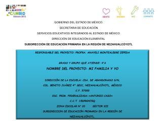 GOBIERNO DEL ESTADO DE MÉXICO  SECRETARIA DE EDUCACIÓN