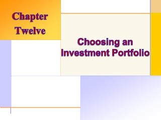 Choosing an Investment Portfolio