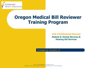 Oregon Medical Bill Reviewer Training Program