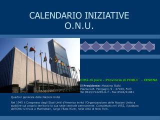 CALENDARIO INIZIATIVE O.N.U.