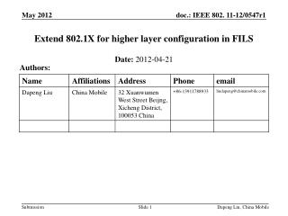 Extend 802.1X for higher layer configuration in FILS