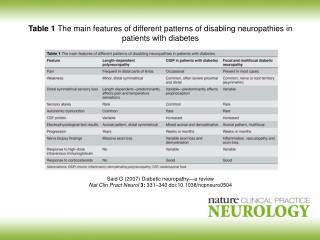 Said G (2007)  Diabetic neuropathy — a review
