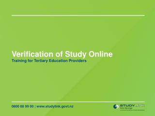 Verification of Study Online