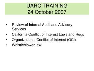 UARC TRAINING 24 October 2007