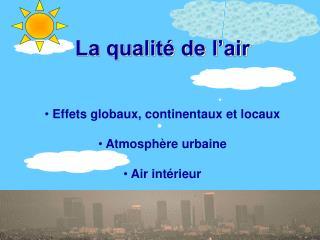 La qualité de l'air