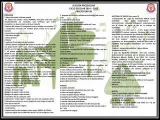SECCIÓN PREESCOLAR CICLO ESCOLAR 2014 – 2015 PREESCOLAR 3B