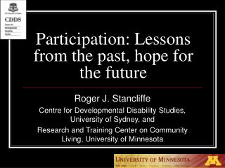Participation: Lessons from the past, hope for the future