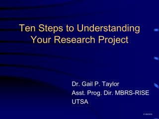 Ten Steps to Understanding Your Research Project