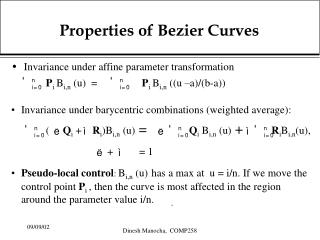 Properties of Bezier Curves