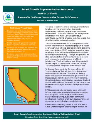 Smart Growth Implementation Assistance State of California Fact Sheet