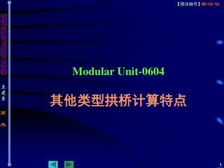 Modular Unit-0604 其他类型拱桥计算特点