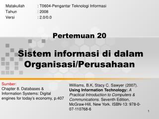 Pertemuan  20 Sistem informasi di dalam Organisasi/Perusahaan