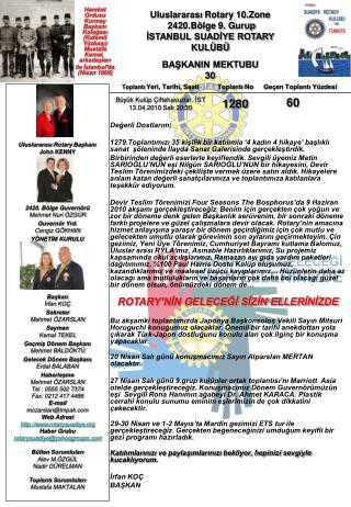 Uluslararası  Rotary 10.Zone   2420.Bölge  9 . G ur up İSTANBUL SUADİYE ROTARY KULÜBÜ