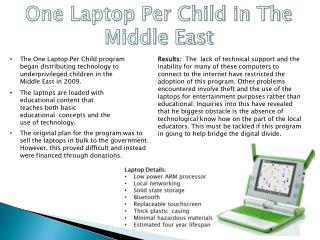 One Laptop Per Child in The Middle East