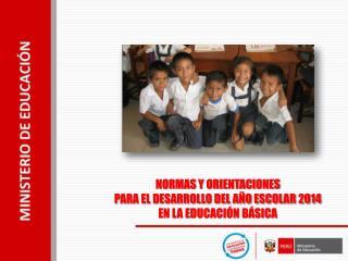 NORMAS Y ORIENTACIONES PARA EL DESARROLLO DEL A�O ESCOLAR 2014 EN LA EDUCACI�N B�SICA
