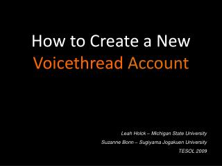 How to Create a New   Voicethread  Account