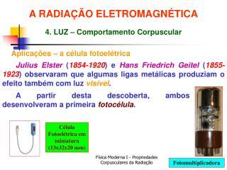 Aplicações – a célula fotoelétrica