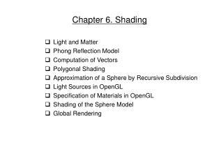 Chapter 6. Shading