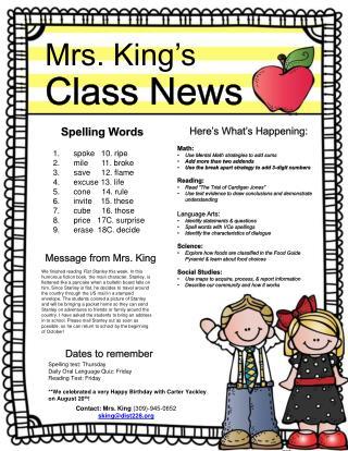 Mrs. King�s  Class News