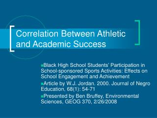 Correlation Between Athletic and Academic Success